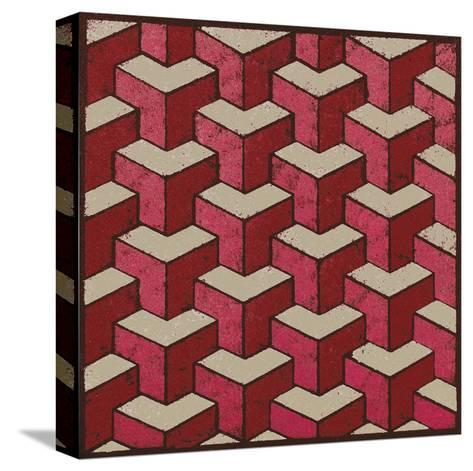 3 Part Tumbling Block (Red)-Susan Clickner-Stretched Canvas Print