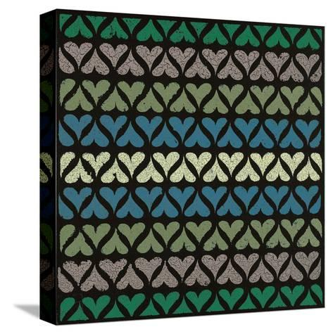 Row of Hearts (Teal)-Susan Clickner-Stretched Canvas Print