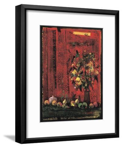Mesa con Mantel Rojo-Juaquin Hidalgo-Framed Art Print