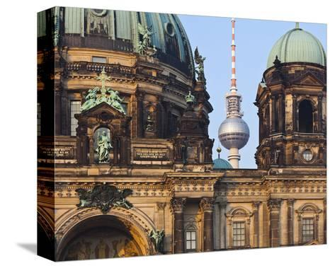 Berlin Cathedral with Television Tower, Berlin, Germany--Stretched Canvas Print
