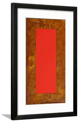 3D Rot auf Rost auf Holz-J?rgen Freund-Framed Art Print