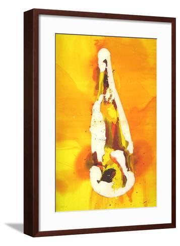 Flasche auf orangem Hintergrund-Melanie Richter-Framed Art Print