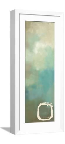 Retro in Aqua and Khaki I-Laurie Maitland-Framed Art Print