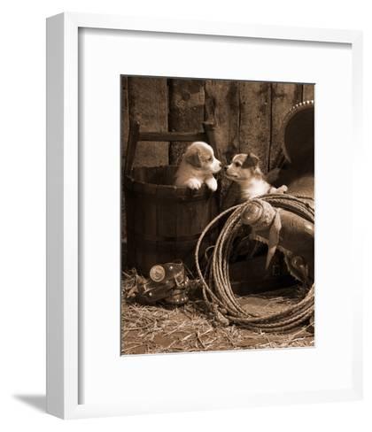 How Bout a Kiss Sepia-Robert Dawson-Framed Art Print