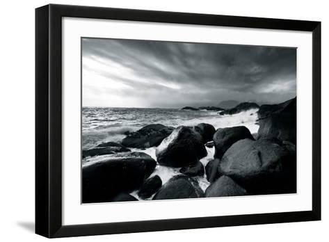 Rocks and Spray-Andreas Stridsberg-Framed Art Print