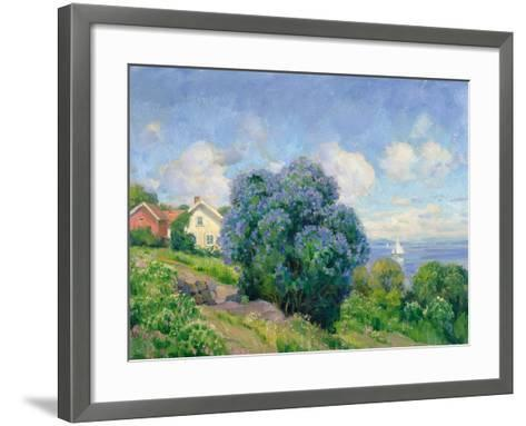Summer Landscape with Lilac Bush, House and Sailing Boat-Thorolf Holmboe-Framed Art Print