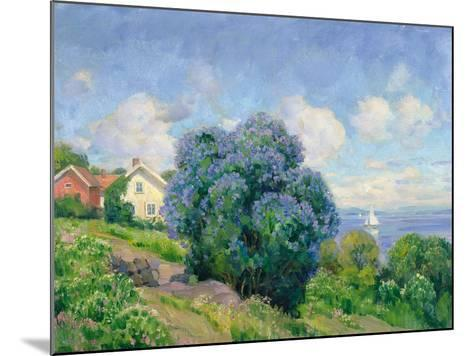 Summer Landscape with Lilac Bush, House and Sailing Boat-Thorolf Holmboe-Mounted Giclee Print