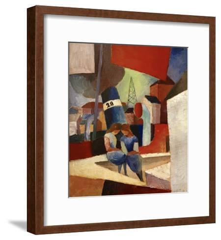 Harbour Scene Duisburg Harbour-Auguste Macke-Framed Art Print