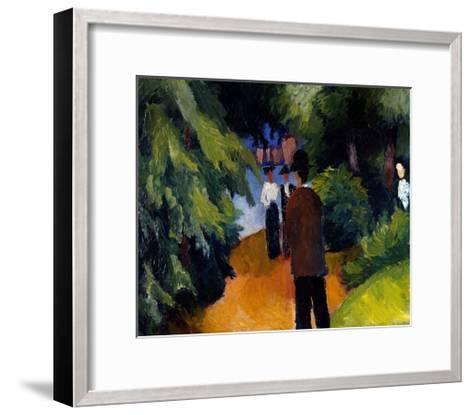 Park with a pond-Auguste Macke-Framed Art Print