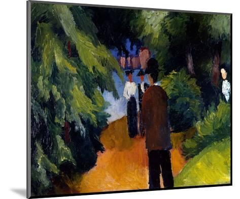 Park with a pond-Auguste Macke-Mounted Giclee Print