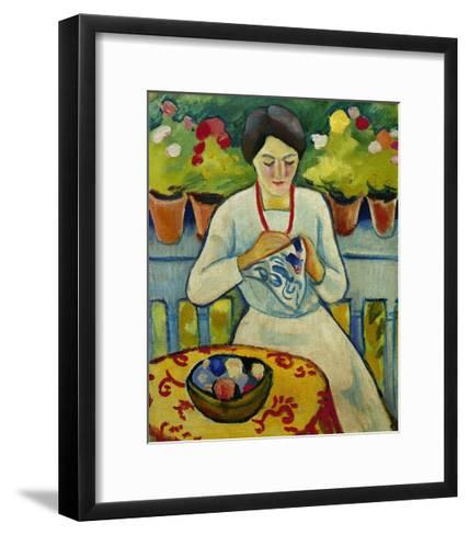 Woman on a Balcony 1910-Auguste Macke-Framed Art Print