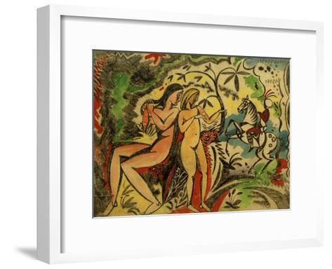 Bathers and Turkish Horseman-Auguste Macke-Framed Art Print