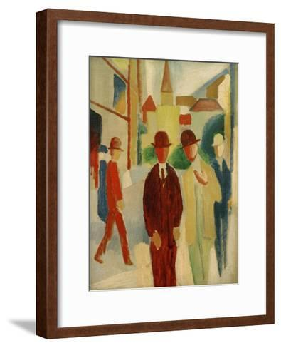 Brights street with people, 1914-Auguste Macke-Framed Art Print