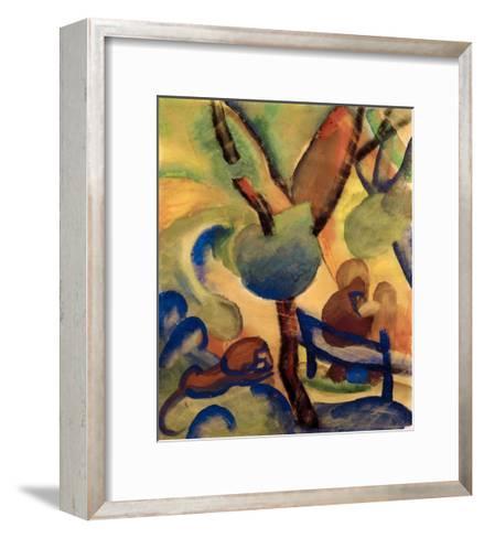 Hermit with lion-Auguste Macke-Framed Art Print