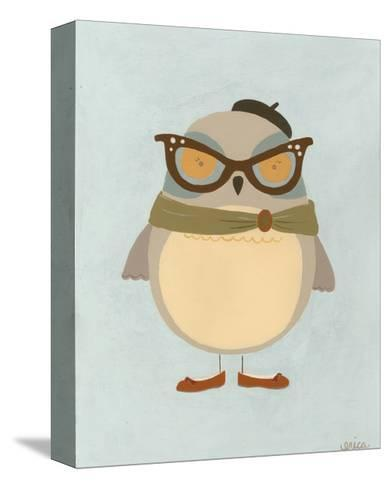 Hipster Owl I-Erica J^ Vess-Stretched Canvas Print