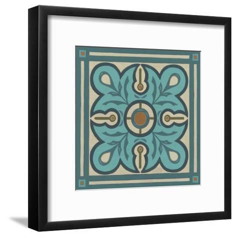 Piazza Tile in Blue III-Erica J^ Vess-Framed Art Print