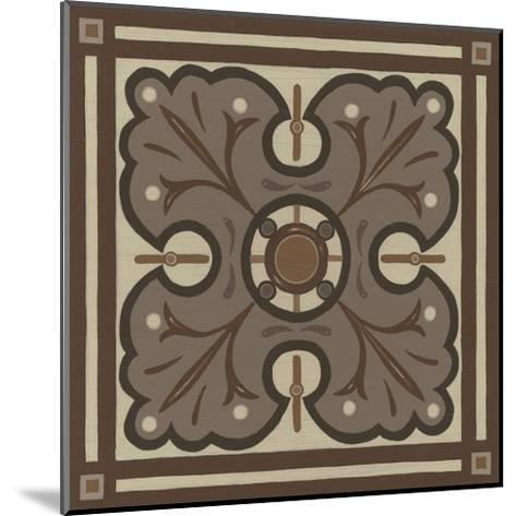 Piazza Tile in Brown IV-Erica J^ Vess-Mounted Art Print