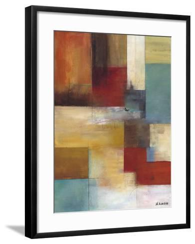Abstract Blue-W^ Green-Aldridge-Framed Art Print