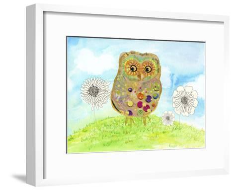 Owl & Flowers-Ingrid Blixt-Framed Art Print