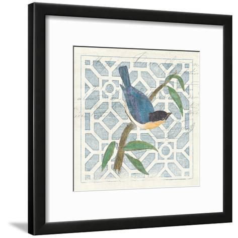 Monument Etching Tile I Blue Bird-Hugo Wild-Framed Art Print