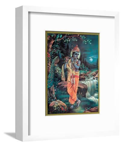 Lord Krishna The Enchanter - God of Love Playing his Flute--Framed Art Print