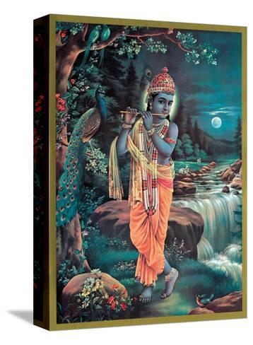 Lord Krishna The Enchanter - God of Love Playing his Flute--Stretched Canvas Print