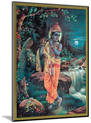 Lord Krishna The Enchanter - God of Love Playing his Flute--Mounted Art Print