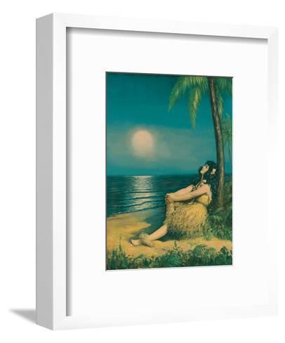 Hawaiian Hula Girl under the Full Moon--Framed Art Print
