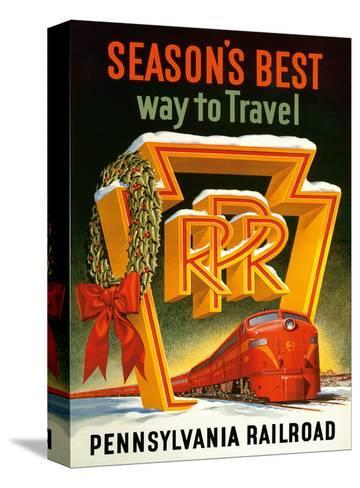 Season's Best Way to Travel - Pennsylvania Railroad--Stretched Canvas Print