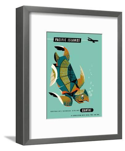 Pacific Islands - Qantas Airways - Green Sea Turtle-Harry Rogers-Framed Art Print