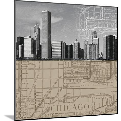 Chicago Map II-The Vintage Collection-Mounted Giclee Print