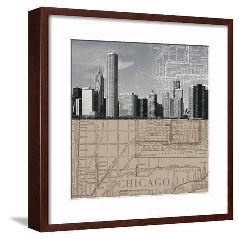 Chicago Map II-The Vintage Collection-Framed Art Print