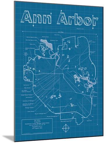 Ann Arbor Artistic Blueprint Map-Christopher Estes-Mounted Art Print