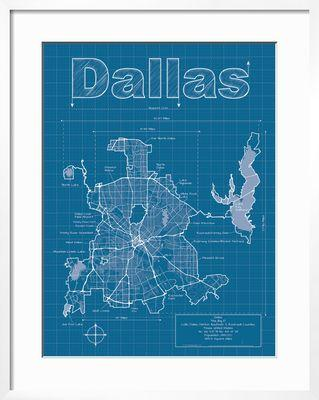 Dallas artistic blueprint map art print by christopher estes at art 2049911634 malvernweather Gallery