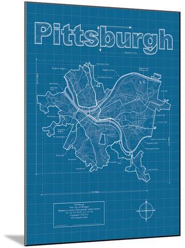 Pittsburgh Artistic Blueprint Map-Christopher Estes-Mounted Art Print