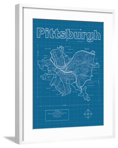 Pittsburgh Artistic Blueprint Map-Christopher Estes-Framed Art Print