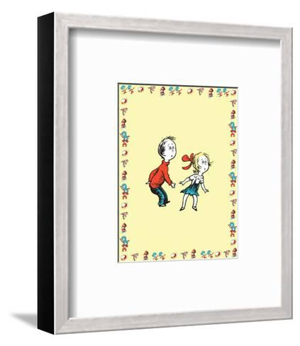 Cat in Hat Yellow Border Collection III - Sally & Her Brother (yellow bordered)-Theodor (Dr. Seuss) Geisel-Framed Art Print