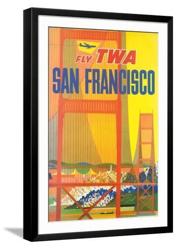 San Francisco - Trans World Airlines Fly TWA - Golden Gate Bridge--Framed Art Print