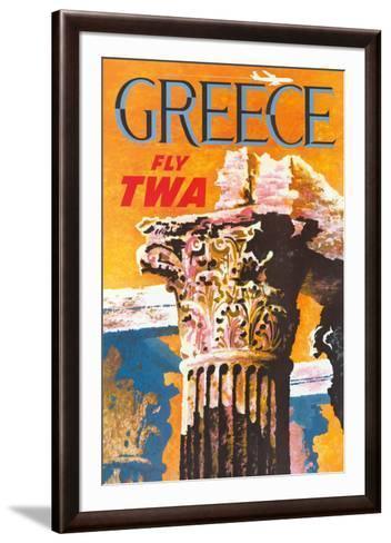 Greece - Trans World Airlines Fly TWA - Corinthian Style Greek Column--Framed Art Print