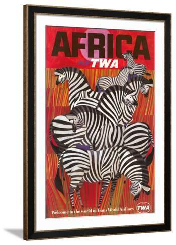 Africa - Trans World Airlines Fly TWA - Zebras--Framed Art Print