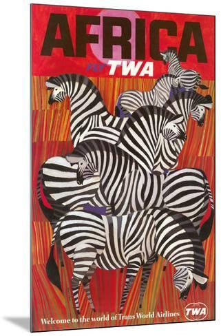 Africa - Trans World Airlines Fly TWA - Zebras--Mounted Giclee Print
