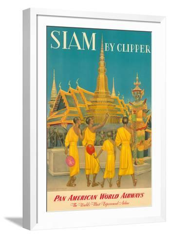 Thailand by Clipper - Pan American World Airways - Monks at Wat Phra Kaeo, Temple of Emerald Buddha-Charles Baskerville-Framed Art Print