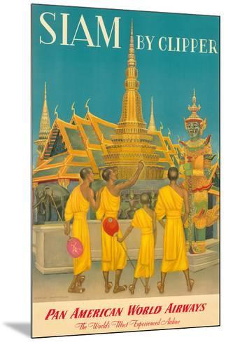 Thailand by Clipper - Pan American World Airways - Monks at Wat Phra Kaeo, Temple of Emerald Buddha-Charles Baskerville-Mounted Giclee Print