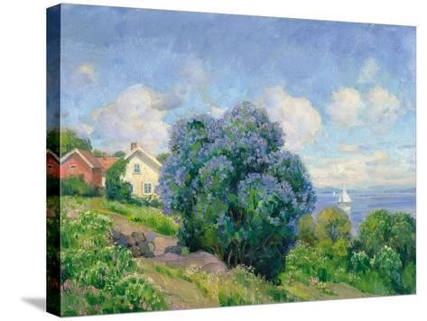 Summer Landscape with Lilac Bush, House and Sailing Boat-Thorolf Holmboe-Stretched Canvas Print