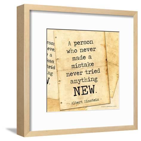 Never Made a Mistake - Albert Einstein Classic Quote-Jeanne Stevenson-Framed Art Print