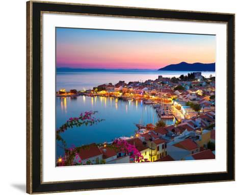 Greek Harbour at Dusk, Samos, Aegean Islands-Stuart Black-Framed Art Print