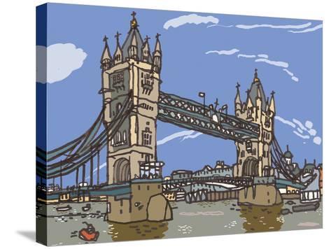 Tower Bridge-James Hobbs-Stretched Canvas Print