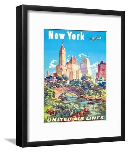 New York - United Air Lines - Gapstow Bridge at Central Park South Pond, Manhattan-Joseph Feher-Framed Art Print
