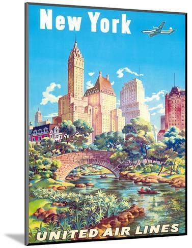 New York - United Air Lines - Gapstow Bridge at Central Park South Pond, Manhattan-Joseph Feher-Mounted Giclee Print