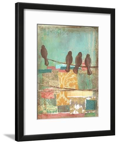 Bird on Wire Collage 4-Erin Butson-Framed Art Print